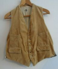 Vtg 40s style cord corduroy country tan hunting work chore vest waistcoat
