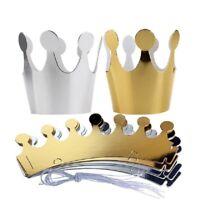 6pcs Shimmer Paper Kids Adult Birthday Party Hat Crown Tiara Prince Princess