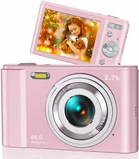 44MP Small Digital Camera for Photography Beginners, 2.7K Vlogging Camera (Pink)