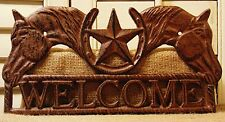 Horse Welcome Cast Iron Sign Horses Horseshoe Barn House Rustic Home Decor #230