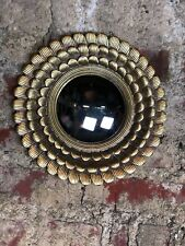 Glace / miroir soleil pétales doré patiné avec oeil de sorcière Diam 28 cm