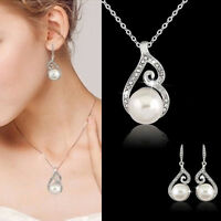 Women's Rhinestone Crystal Pearl Necklace Earring Wedding Bridal Jewelry Set