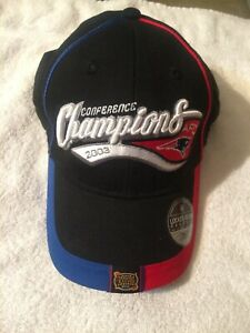 New England Patriots 2003 AFC Champions Back, Red, & Blue Cap Hat RARE REEBOK
