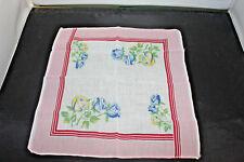 Vintage White Pink  Handkerchief/Hankie/Hanky Blue Yellow Roses