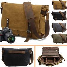 Leather Canvas Camera Bag Vintage DSLR SLR Messenger Shoulder Bag for Canon DSLR