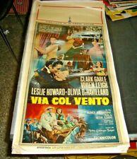 VIA COL VENTO locandina originale 1950 GABLE LEIGH HOWARD DE HAVILLAND