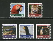 GUYANA 2018 INDIGENOUS BIRDS AND ANIMALS SET OF FIVE MINT NH