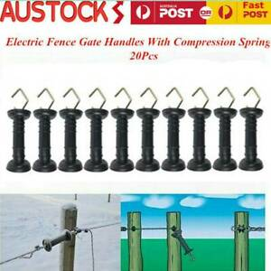 20pcs Electric Fence Gate Handle Insulated Spring Handles Heavy Duty Black AU