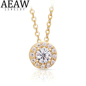 0.3carat 4MM D Color Round Cut Moissanite Pendant Necklace Real 18k Yellow Gold