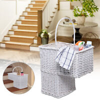 Wicker Staircase Basket Rattan Handle Key Holder Shoe Storage Stair