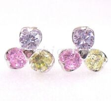 Women Girl Stud Earrings  Pink Lilac Flower Simulated Diamond White Gold Plated