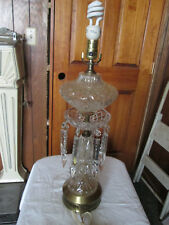 Vintage Lead Crystal Cut Table Lamp / Lead cut Glass pointed Prisms