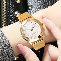 Fashion Women Crystal Golden Stainless Steel Analog Quartz Wrist Watch Bracelet