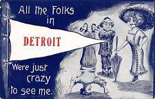 """Folks in"" Detroit Michigan~Crazy to See Me~Man on Head~1910 Pennant~Cobb Shinn"
