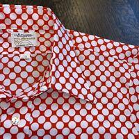 Vtg 60s 70s ARROW Ultressa Dress Shirt Red Polka Dot Polyester Disco Mod MENS 16