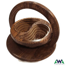 Wooden Handmade Collapsible Antique Dry Fruit Basket with Folding Trivet