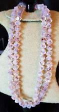 """Vintage Pink Opalescent Glass Bead Necklace - Square Beads - Long - 34"""" - RARE!"""