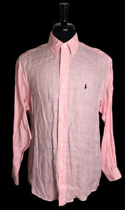 🔴 Ralph Lauren BLAKE 100% Linen Small ? PINK Long Sleeve PONY Logo Button Shirt