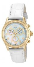 Invicta Angel Chronograph Mother of Pearl Dial White Leather Ladies Watch 12990