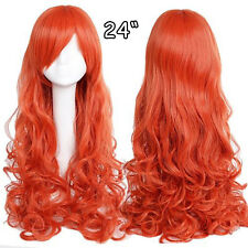 US Stock Ladies Curly Wavy Full Wig Synthetic Wigs Wedding Blonde Brown Red Pink