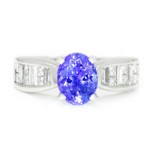 Oval Tanzanite Ring with Diamonds 18K White Gold 2.00ctw