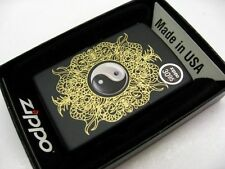 ZIPPO Full Size Black Matte Finish YIN AND YANG Classic Windproof Lighter! 28829