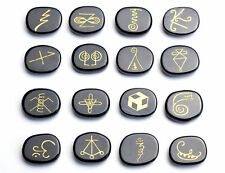 16 PIECES Black Obsidian Engraved Crystal Reiki KARUNA Magic Symbols Palm Stones