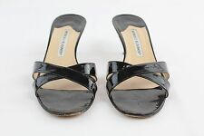 Manolo Blahnik Black Patent Leather Kitten Heel Mules Size 10.5