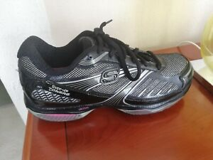 Skechers shape up ladies black/silver leather lace up trainers Size 5 UK /38 EU