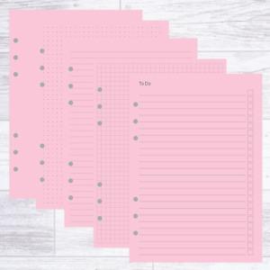 A5 PLANNER ORGANISER REFILL PAPER PACK PINK COLOURED BLANK RULED FILOFAX KIKKI