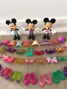 Mattel Disney Minnie Mouse Dolls And Inter Changeable Clothes  Shoes.Clip On.