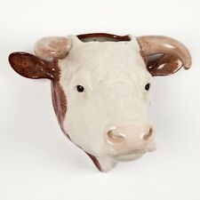 More details for quail ceramics hereford bull wall mounted vase   farm animal cow flowers gift