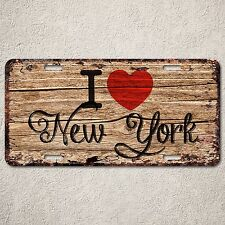 LP289 I Love New York Wood Vintage Auto Car License Plate Wedding Decor Sign