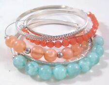 New 7 Piece Wire Bracelet & Textured Bangle Set With Colorful Beads #B1336
