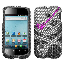 For Huawei T-Mobile Prism U8651T Crystal Diamond BLING Case Phone Cover Skull