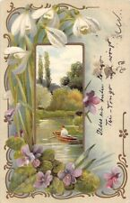 Snowdrops Galanthus Violets Flowers, Sailing Boat 1904