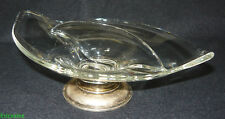 Mid-Century Modern Art Glass Crown Sterling Divided Candy Snack Dish