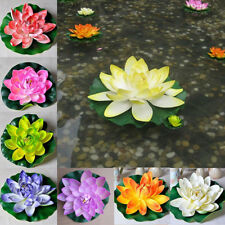 18cm Artificial Lotus Floating Water Lily Flowers Plants Home Decors Pond _JJ