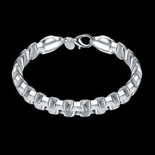 Mens Womens 925 Sterling Silver 9mm Double Box Link Chain Fashion Bracelet #B320