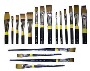 Daler Rowney System 3 Artist Acrylic Paint Brush - Long & Short FLAT & BRIGHT