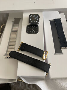 Apple Watch Series 6 44mm Stainless Steel Case with White Sport Band With Bundle