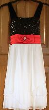 NWT My Michelle S/L Formal Dress - Red, Ivory & Black Sequins Girl's Size 10