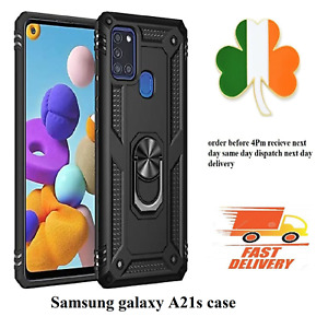 Samsung Galaxy A21s ring Armour slim case shockproof cover black screen protect