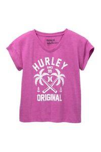 Hurley Big Girl's Magenta Short Sleeve T-Shirt Tee Permanent Vacation S/M/L/XL