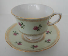 QUEEN ANNE CUP & SAUCER SET 8474 ROSES LIGHT GREEN MADE IN ENGLAND set #91