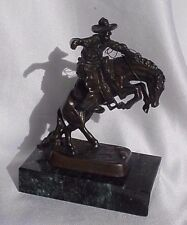 Remington Bronze Cowboy on Bucking Horse Marble Mini Sculpture Statue