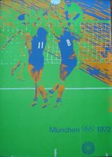 MUNICH 1972 OLYMPICS VOLLEYBALL A0 poster 33x47 OTL AICHER art Vintage
