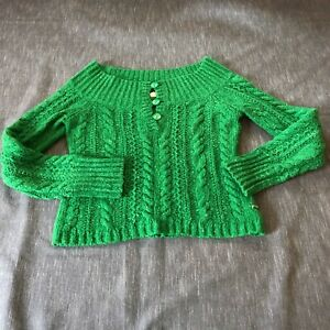 American Eagle kelly green wool blend wide neck sweater womens L