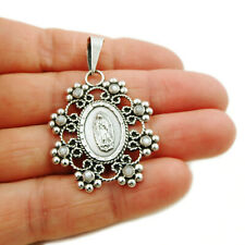 Mexican Virgin of Guadalupe 925 Sterling Silver and Pearl Pendant Gift Boxed