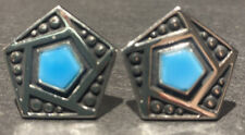 With Bright Blue Stone Vintage Anson Signed Silver-Tone Cufflinks